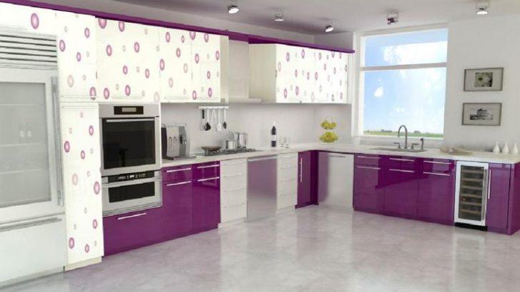 Mutfaklarda Mürdüm Rengi Mutfak Dolapları