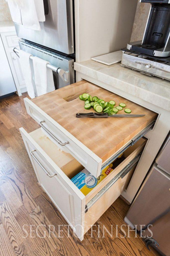 mutfak dolabı göme sürgülü doğrama tahtası